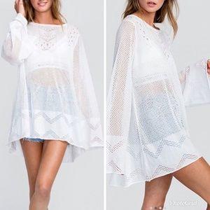 NWT Wildfox White Crochet Lace Boho Tunic Sweater